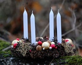 Christmas Wreath - Candle Ring - Advent Wreath - Winter Wreath -  Pinecone Wreath With Four Candles