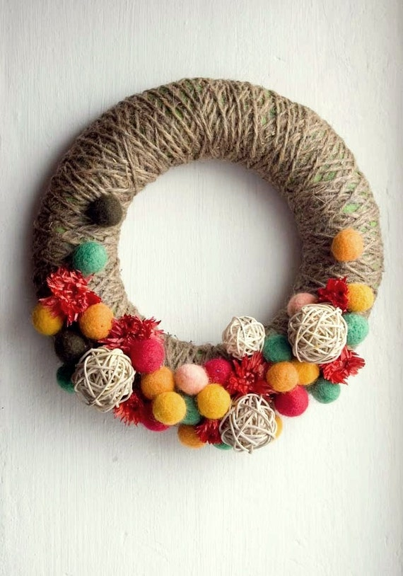 SALE - Door wreath, summer , autumn, fall, yellow, red, grey, gray, ivory, orange, green - Blooming meadow