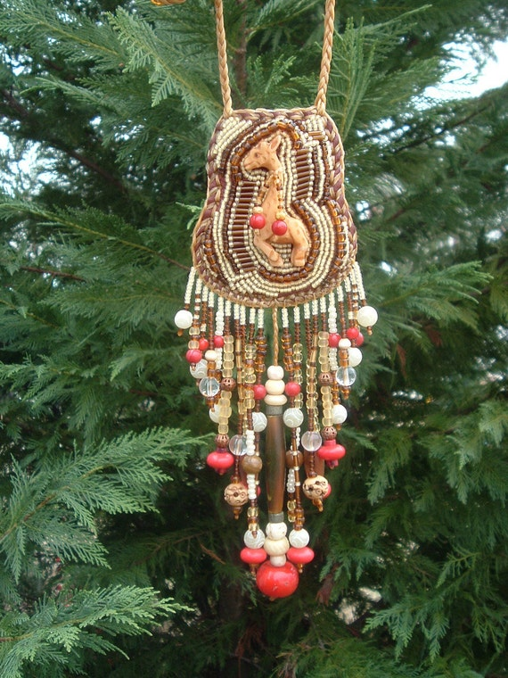 This item is (((RESERVED  for Deb))) Beautiful Handmade Beaded Embroidered Giraffe Necklace (((SALE)))