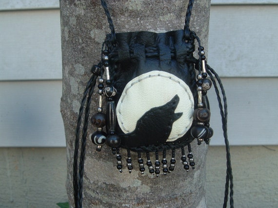 Deerskin Leather Medicine Bag with a Wolf Howling at the Moon (((SALE)))