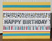 Birthday Card - Bright, Bold, Starry Design with FREE SHIPPING