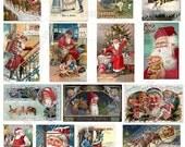 Vintage Christmas 3. Digital Collage Sheet of 17 Christmas Images, Old, Vintage Christmas Postcards for mixed media, altered art, card making, scarpbooking.