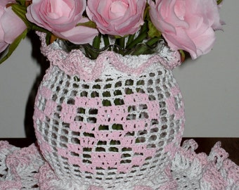 Filet Crochet Vase Cover and Matching Doily