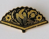 Vintage DAMASCENE Toledo Fan Pin 1960s Filigree Bird Flowers Madrid