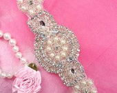 "JB41 Silver Pearl Beaded Crystal Rhinestone Applique 6"" (JB41-slcrp)"