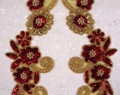 """0183 Red Gold 10""""  Floral Flower Mirror Pair Sequin Beaded Appliques Crafts Sewing Motifs  (0183X-rdgl)"""