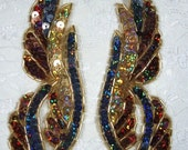 """0033 Bronze Black Gold Holographic Sequins Gold Beads Mirror Pair Beaded Sequin Appliques 6.25""""  0033X-bzmulti"""