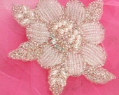 """FSSF11 Crystal Silver Pearl Rose Floral Beaded Rhinestone Applique 4""""  Sewing and Crafts Motif  FSSF11-slcrp"""
