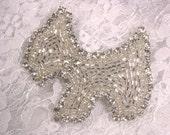 "0328 Silver Rhinestone Scottish Terrier Dog Puppy Beaded Applique 2.75"" 0328-slcr"