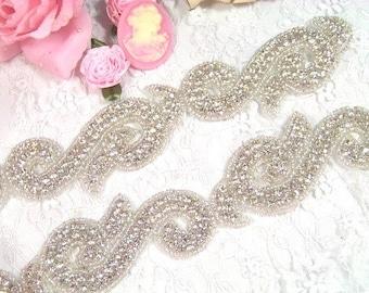 """Swirl Silver Beaded Crystal Rhinestone Trim 1.5""""  (XR37)"""