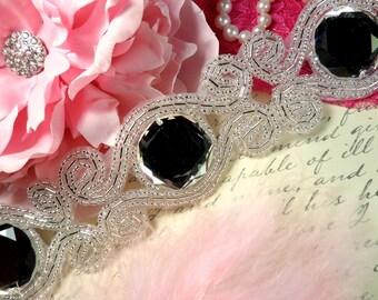 "XR98 On Sale Half Price Scrolls of Diamonds Silver Beaded Crystal Rhinestone Trim 1.75"""