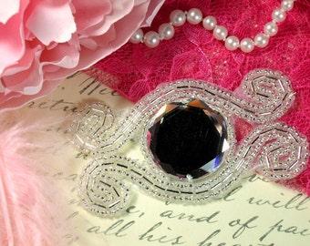 """AXR98 Scroll & Diamond Silver Beaded Crystal Rhinestone Applique 3"""""""