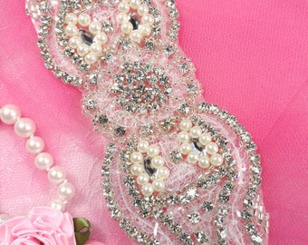 """XR81 Silver Pearl Sequin Beaded Crystal Rhinestone Applique 5.75"""" (XR81-slcrp)"""