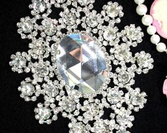 """TS31 Silver Crystal Clear Rhinestone Applique Embellishment 6"""""""