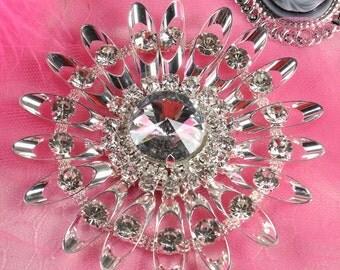 """TS44 Silver Crystal Clear Rhinestone Applique Embellishment 4.25"""""""
