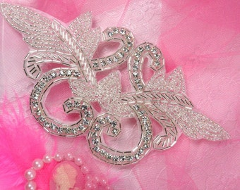 JB1 Crystal Clear Rhinestone Silver Beaded Applique