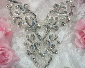 "0035 Silver Pearl Heart Bodice Yoke 8"" Sequin Beaded Applique  0035-slp"