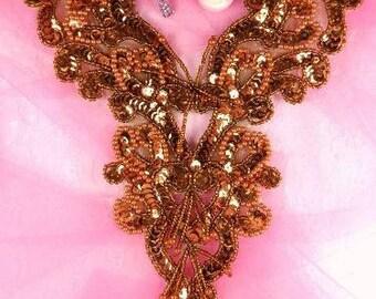 "0035 Bronze Heart Bodice Yoke 8"" Sequin Beaded Applique"