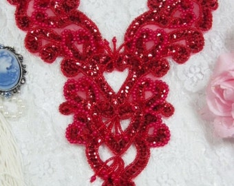 "0035 Red Heart Bodice Yoke 8"" Sequin Beaded Applique Sewing Craft Motif  ( 0035-rd )"