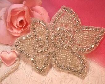 """XR46  Floral Crystal Beaded Rhinestone Applique 4.5""""  (XR-46-SLCR)"""