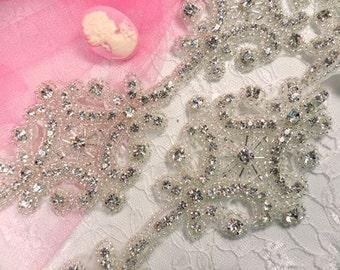 """XR80 DIY Bridal Sash Crystal Clear Rhinestone Beaded Trim 2.75"""" x 35"""" (XR80-slcr)"""