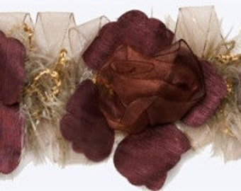 E5665 Mauve Wine Flower Stretchy Sewing Trim -MV