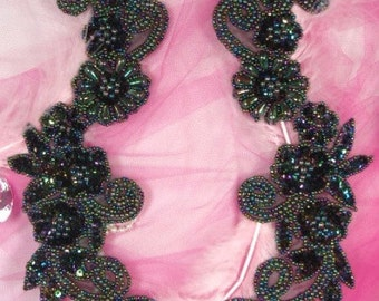 0183  Aurora Borealis Black AB Mirror Pair Sequin Beaded Appliques  0183-bkab