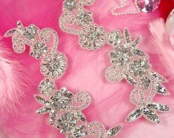 0183  Silver Mirror Pair Floral Sequin Beaded Appliques