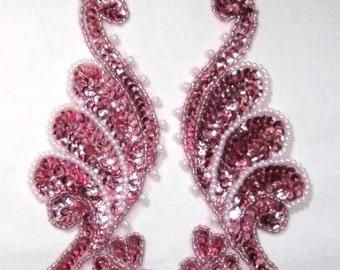0016  Mauve Pearl Mirror Pair Sequin Beaded Appliques