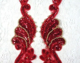 "0016  Red Gold Mirror Pair  Sequin Beaded Appliques 8""  0016-rdgl"