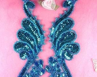 "0016  Turquoise Mirror Pair  Sequin Beaded Appliques 8.5"""