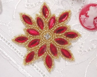 """0348 Red Gold  Snowflake Jewel Beaded Applique 3""""  Sewing and Crafts Motif"""
