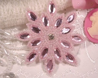 "0348 Pink Snowflake Jewel Beaded Applique 3""  Sewing and Crafts Motif"