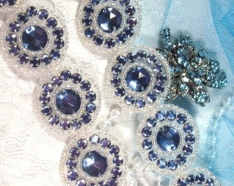 "0379 Denim Round Jewel Rhinestone Beaded Trim 1.25""  ( Use for Sewing and Crafts )"