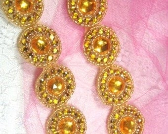 """0379 Gold Round Jewel Rhinestone Beaded Trim 1.25""""  ( Use for Sewing and Crafts )"""