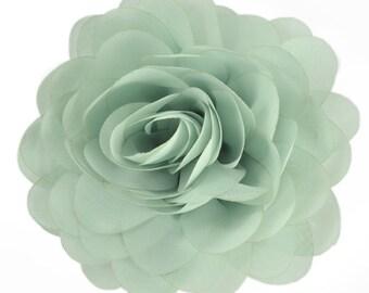 "E6042 Light Green Floral Brooch Clip Applique 5"" E6042-gr"