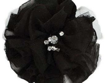 "E6001  Black Flower Rhinestone Brooch Hair Clip 4.75""  E6001-bk"