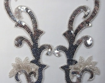 """0020  Silver  Mirror Pair Sequin Beaded Appliques 8""""  Sewing Crafts Motifs  0020-sl"""
