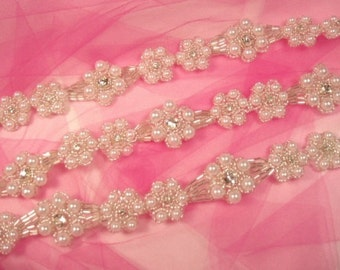 0428  Genuine Rhinestone Pearl Beaded Trim Floral Flower Design great for Hair Accessories 0428-slcrp