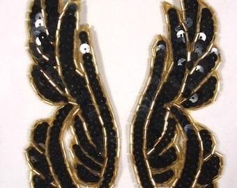 "0033 Black Sequin Gold Beads Mirror Pair Beaded Sequin Appliques 6.25""  0033-bkgl"