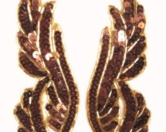 "0033 Bronze Sequins Gold Beads Mirror Pair Beaded Sequin Appliques 6.25""  (0033X-bzgl)"