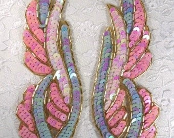 "0033 Pastel Mirror Pair Beaded Sequin Appliques 6.25""  0033X-pastel"