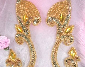 "0034 Gold Jeweled Mirror Pair Sequin Beaded Appliques 6""  0034X-gl"