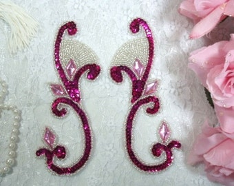 "0034 Burgundy Silver Jeweled Mirror Pair Sequin Beaded Appliques 6""  0034X-brgsl"