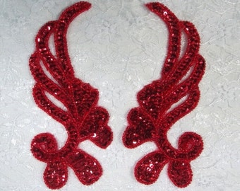 "0182 Red Mirror Pair Sequin Beaded Appliques 6"" 0182-rd"