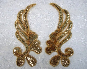 "0182 Gold Mirror Pair Sequin Beaded Appliques 6"" 0182-gl"