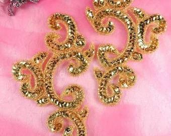 "0242 Gold Mirror Pair Sequin Beaded Appliques 6""  Motif 0242X-gl"