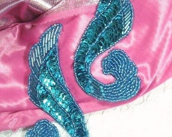 "0123  Turquoise Mirror Pair Beaded Sequin Appliques 4.25""   Sewing Craft Motif 0123X-tr"