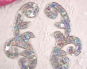 """0050 Silver Holographic Mirror Pair Sequin Beaded Appliques 4"""" 0050X-slH"""