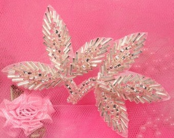 "FS566 Silver Beaded Leaf Applique 3.5""   FS566-sl"